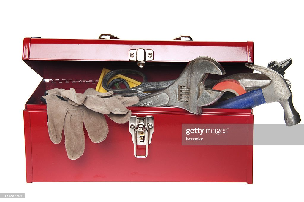 Red Tool Box with Variety of Tools : Stockfoto