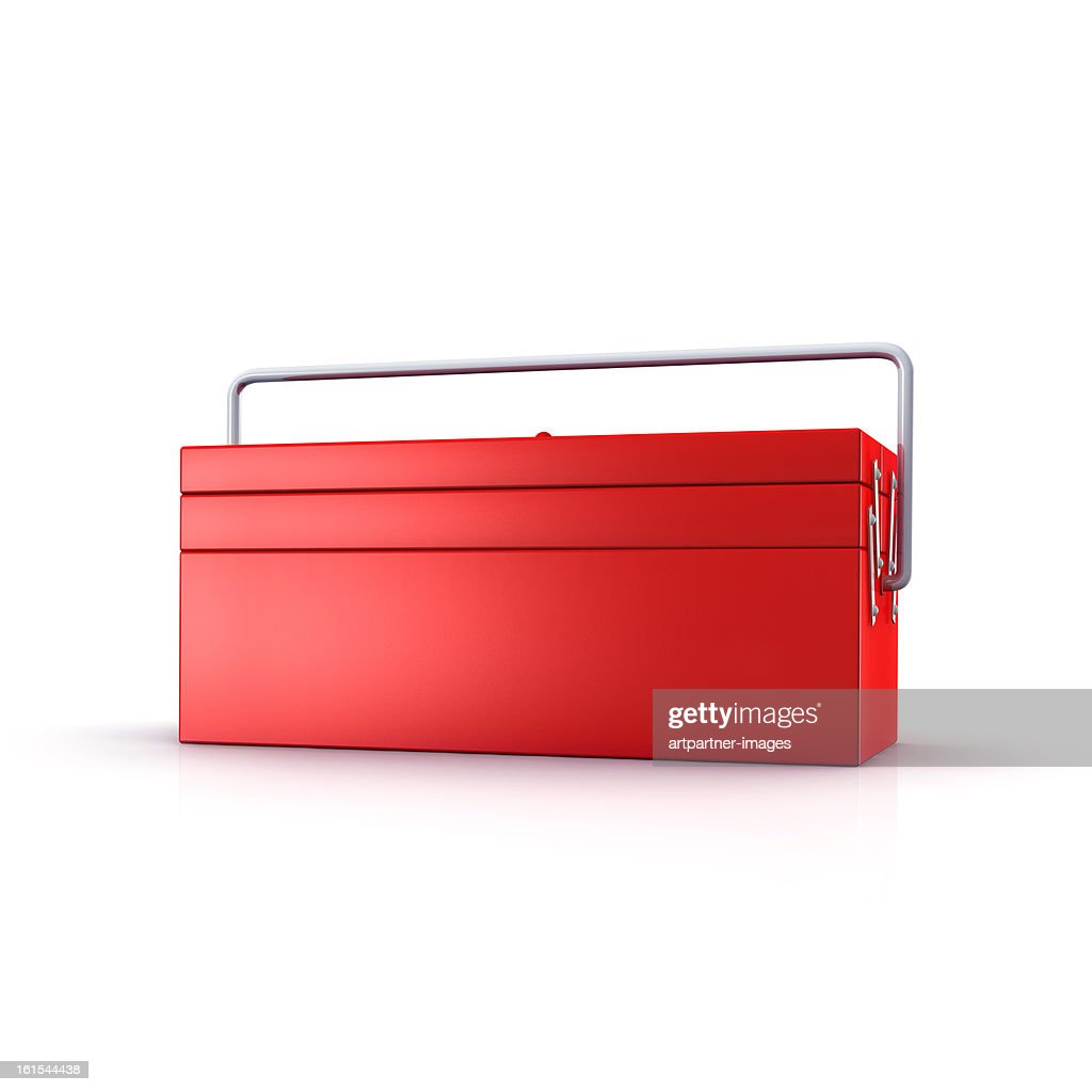 Red toolbox on a white background : Stockfoto