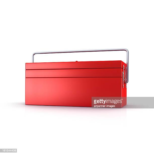 Red toolbox on a white background