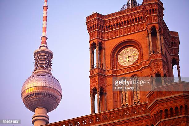 Red Town Hall and Television Tower, Berlin