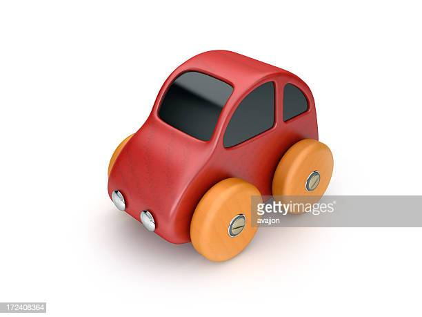 Red toy car with orange wheels, against a white background