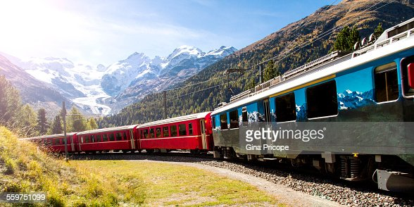 Red train and Bernina Pass view