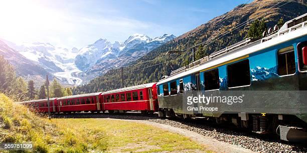 Red train and Bernina Pass view