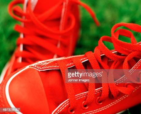 Red trainers, close-up