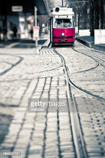 Red Tram in Vienna, Europe