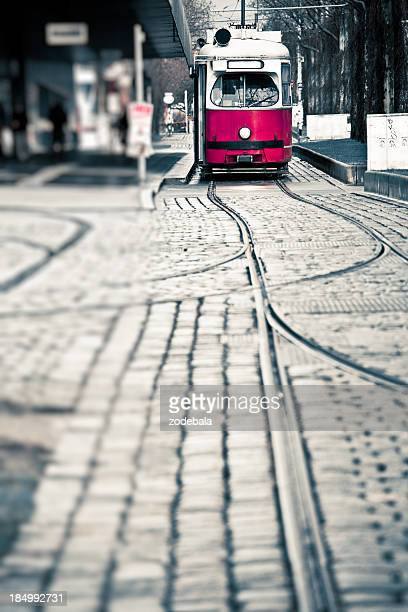 Red Tram in Vienna, Europe