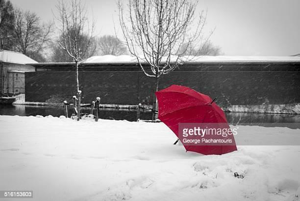 Red umbrella in the snow