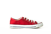 Red lace unisex sneaker sports footwear isolated white background