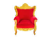 Concept of luxury and success with red velvet and gold armchair.isolated on white background with clipping path.