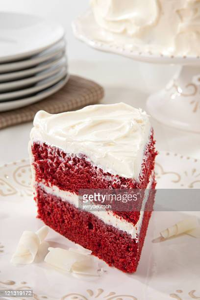 Red Velvet Cake and Stacked Plates