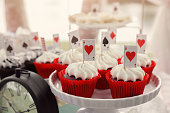 Red velvet cupcakes with playing cards toppers, Alice in wonderland tea party, toning