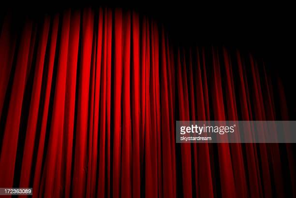 Red velvet curtain closed with a spotlight on it