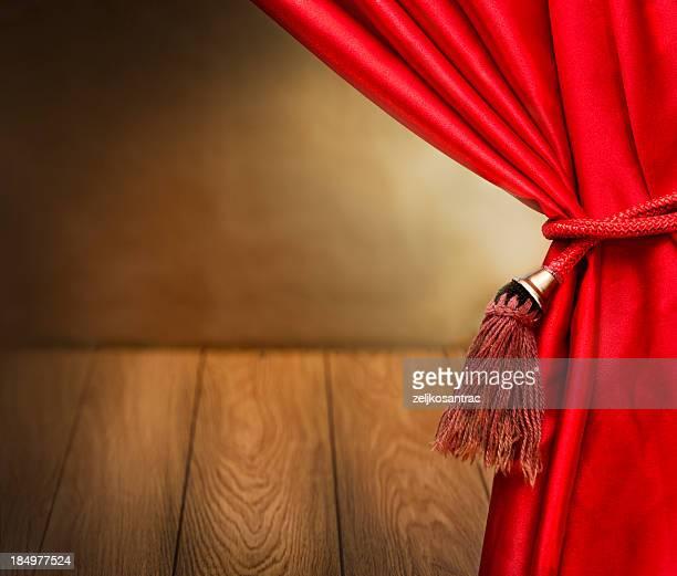 赤いベルベットのカーテンオープニングシーン