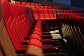 Red Velvet Fabric Cloth Empty Many Seats Row Column in Movie Theatre Concert or Siminar Conference room