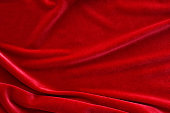 Red silk velvet cloth texture and background