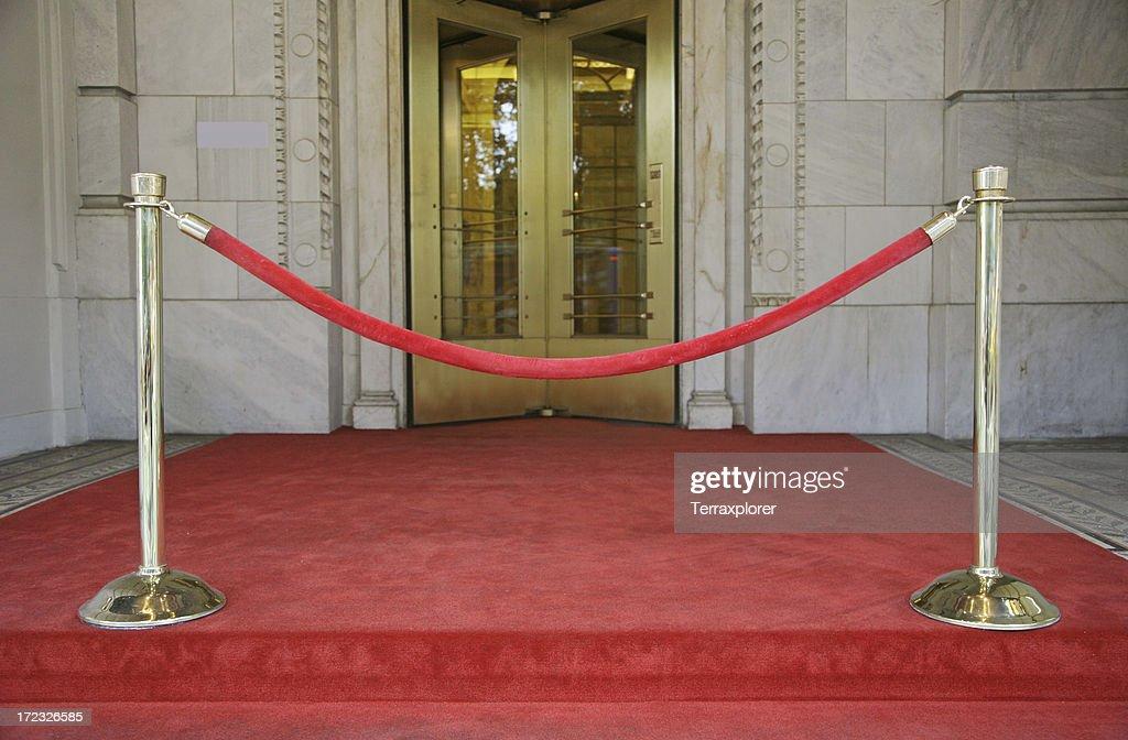 Red Velvet Rope Barrier : Stock Photo