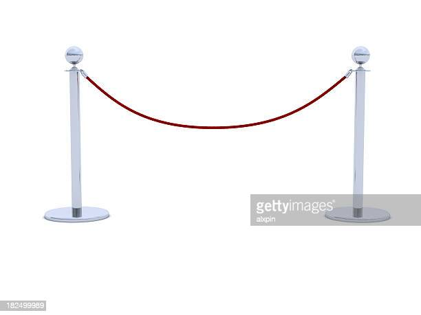 Red velvet rope barrier with silver posts
