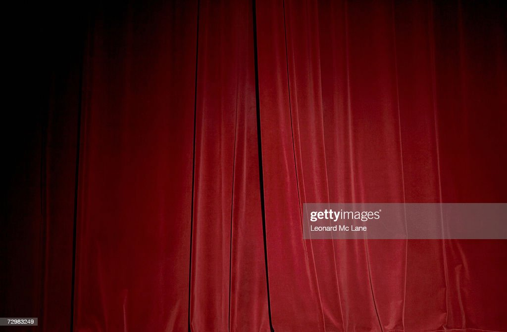 Red velvet stage curtain, close-up : Stock Photo