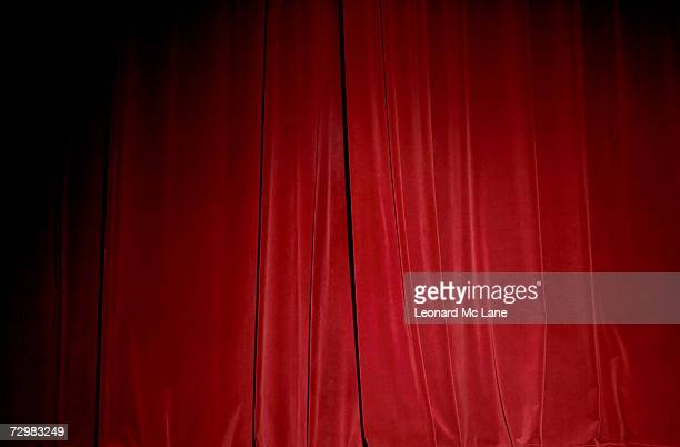 Red velvet stage curtain, close-up