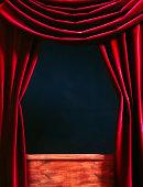 Puppet Theater. Red velvet theater curtain.