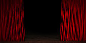 Red velvet theater curtain opening. Red velvet curtain is contacting wood ground. Panoramic composition.