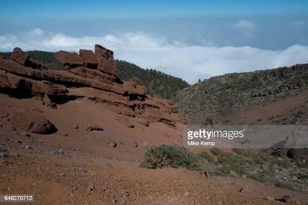 Red volcanic rock formations in the Caldera de Taburiente National Park in La Palma Canary Islands Spain La Palma also San Miguel de La Palma is the...