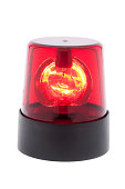 red warning light isolated