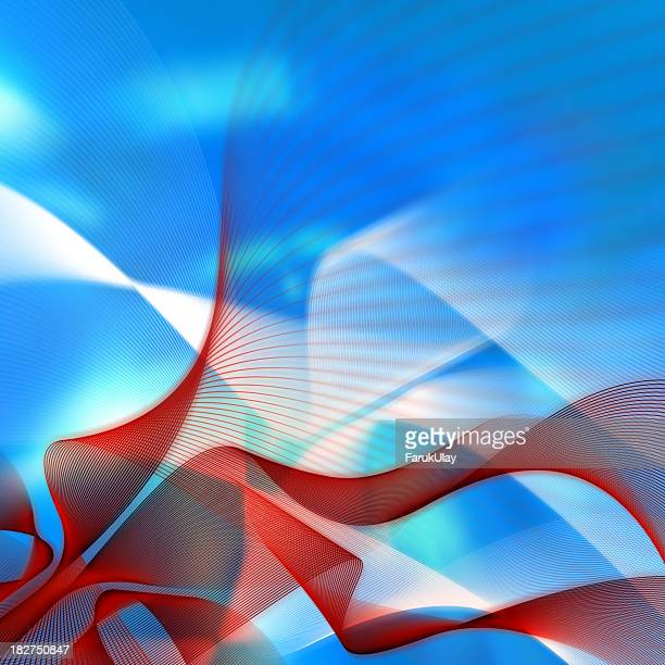 Red wavy lines on abstract blue background