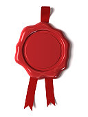 Red wax seal against white background