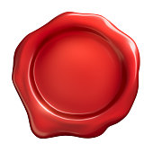 Red wax seal on a white background