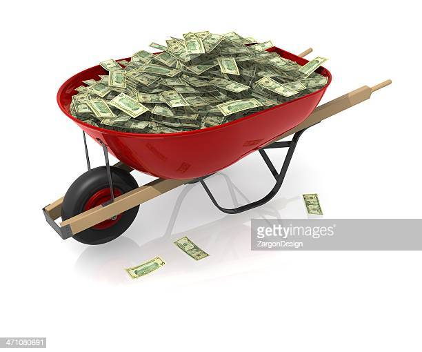 Red wheelbarrow with such a large amount of cash it spills