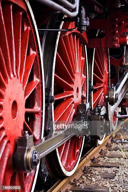Vermelho rodas de uma velha Locomotiva a Vapor