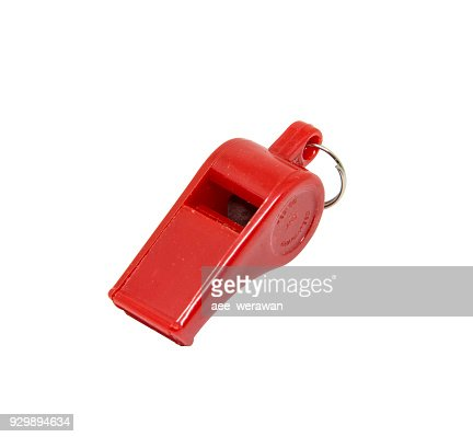 Red whistle on white background : Stock Photo