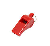 Red whistle on white background