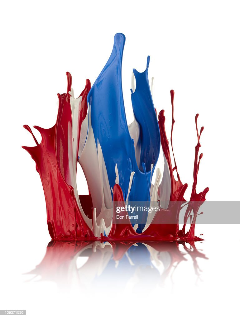 Red White and Blue Abstract Liquid