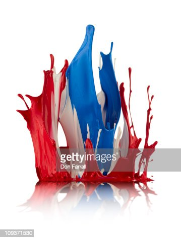 Red White and Blue Abstract Liquid : Stockfoto
