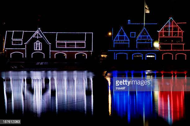 Red white and blue Boathouses in Philadelphia