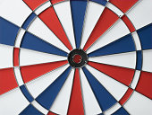 Red, white and blue dart board, close-up