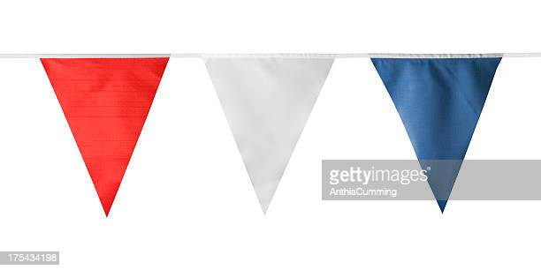Red, white and blue triangular bunting on white background