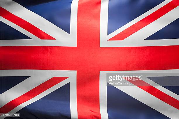 Red, white and blue Union Jack flag filling frame