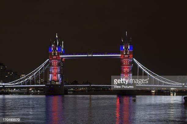 Red White Blue Lighting Tower Bridge Relighting Bridge Europe United Kingdom Horace Jones View of Tower Bridge capturing new lighting system from HMS...