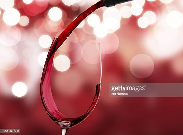 Vin rouge et de la nouvelle année de lumières
