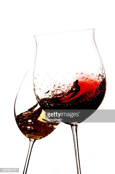 Red wine and white wine being aired