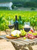 Red wine, cheese, bread and grapes on wooden table on background with green vineyard