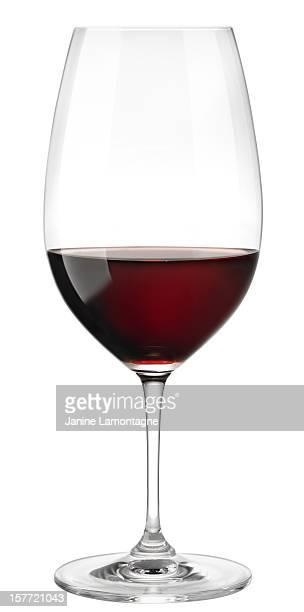 Verre à vin rouge sur blanc