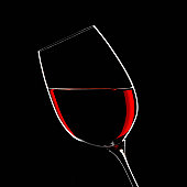 Red wine in glass indoors
