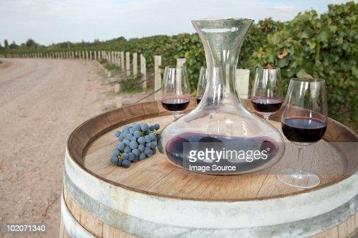 Red wine in vineyard