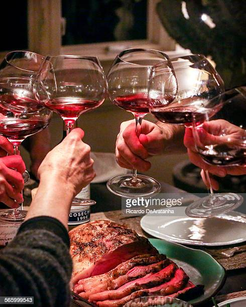 Red wine toast during Prime Rib dinner at Irene Virbila's residence Tuesday December 03 2013 First course was squash soup and white wine Column about...