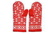 Red winter women's mittens isolated on white background