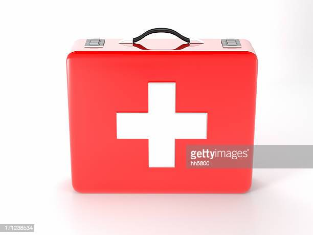 Red with white cross first aid kit on white background